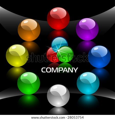 Web navigation template with colorful buttons 1 - stock vector