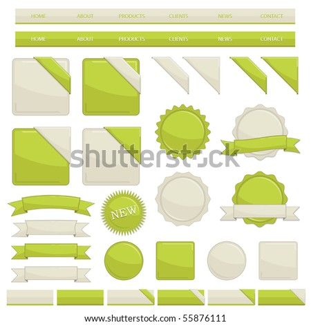 web navigation with buttons and ribbons isolated on white - stock vector
