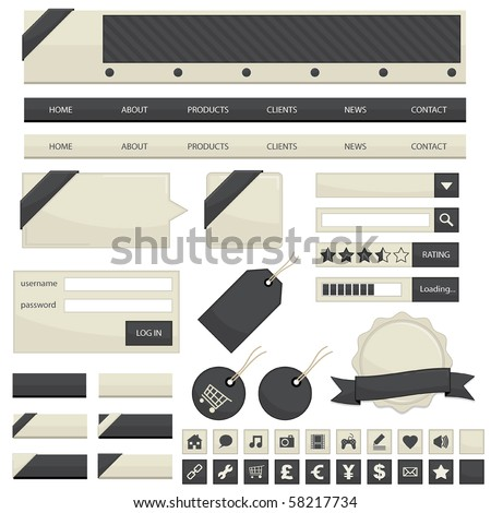 web navigation with buttons, tags and ribbons isolated on white - stock vector