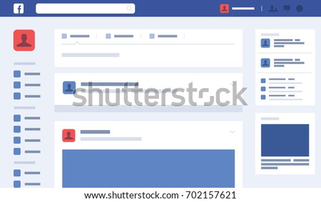 Web Page Concept Social Page Interface ,Facebook Vector Illustration