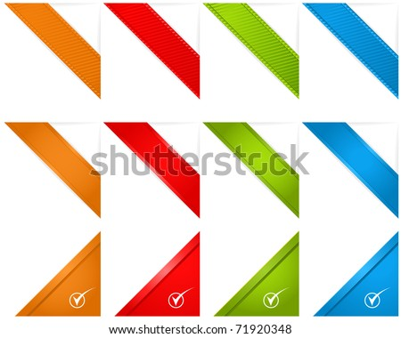 Web Page Corner Ribbons - stock vector