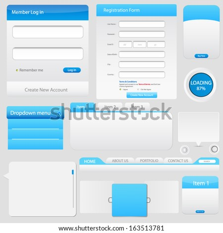 Web page elements - stock vector