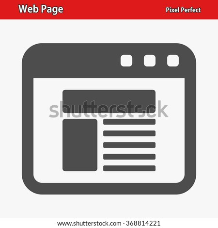 Web Page Icon. Professional, pixel perfect icons optimized for both large and small resolutions. EPS 8 format. - stock vector