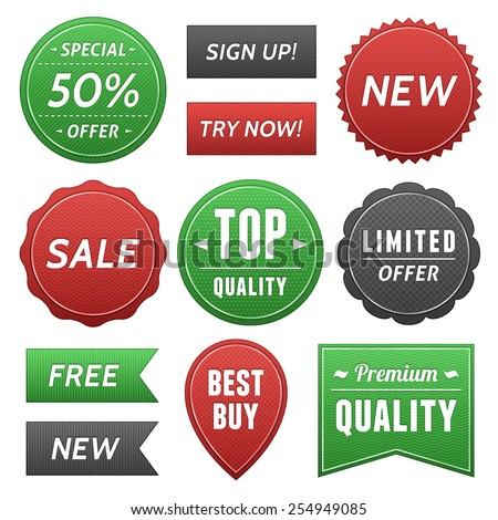 Web page labels and stickers.  File format is EPS10. - stock vector
