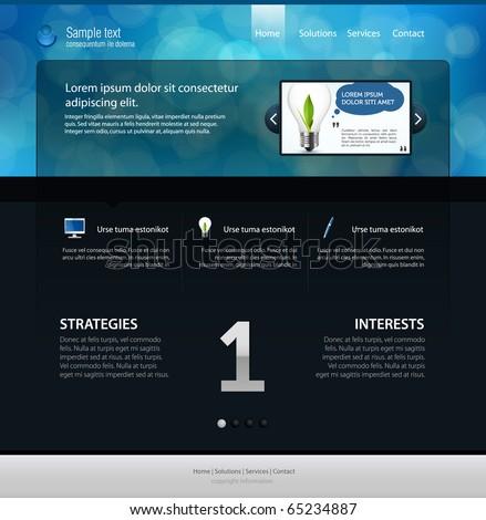 web page layout, dark version - stock vector