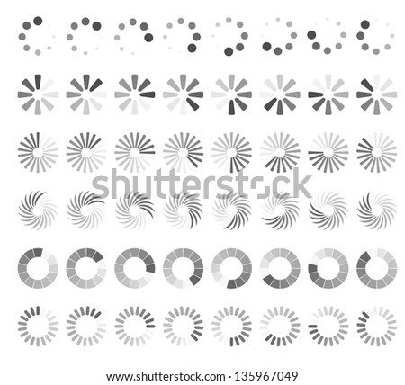 Web page loading status icons isolated on white background. - stock vector