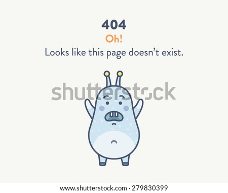 Web page mistake when the page was not found. Blue cute disappointed monster on a white background. Oh! Looks like this page doesnâ??t exist.  - stock vector