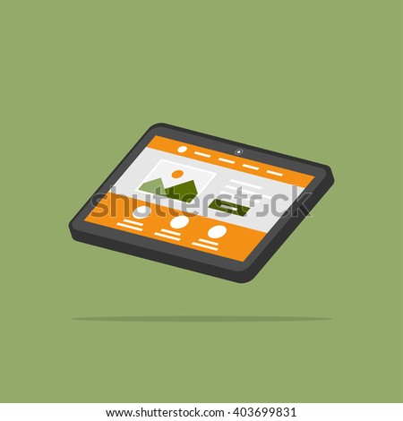 Web page tablet 3D isolated vector illustration. Tablet web design 3D creative concept. Isolated website interface isometric graphic design.  - stock vector
