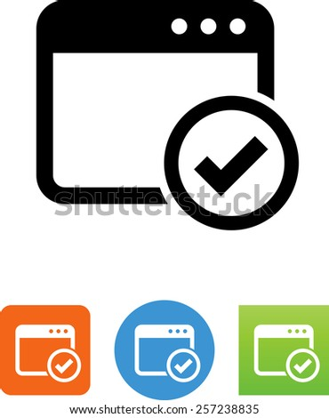 Web page with checkmark symbol for download. Vector icons for video, mobile apps, Web sites and print projects.  - stock vector
