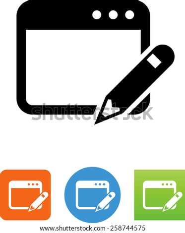 Web page with pencil symbol for download. Vector icons for video, mobile apps, Web sites and print projects.  - stock vector