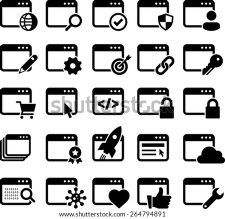 Web pages icons.  - stock vector