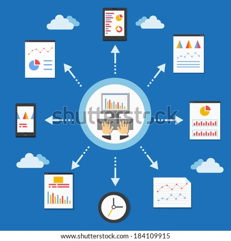 web programming and analytics graph in flat style vector illustration - stock vector