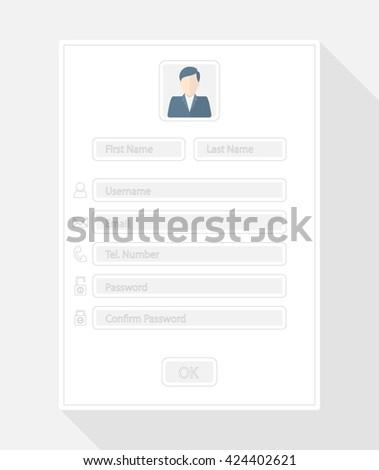 Web registration form, flat design. Vector - stock vector