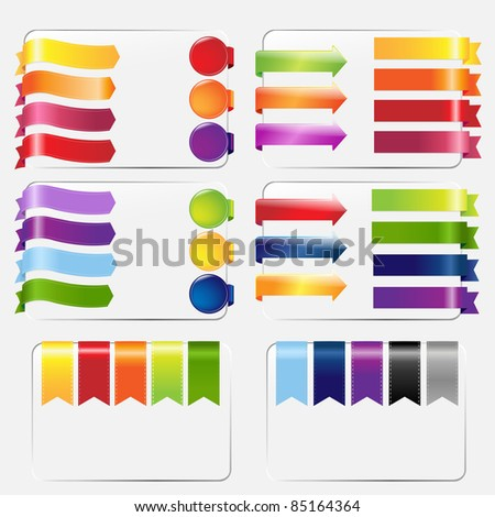 Web Ribbons Set, Isolated On White Background, Vector Illustration - stock vector