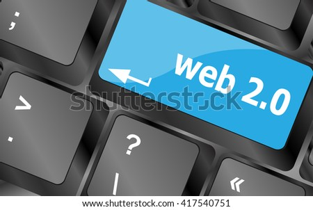 web 2 0 rss or blog concept with internet computer key on keyboard. Keyboard keys icon button vector - stock vector