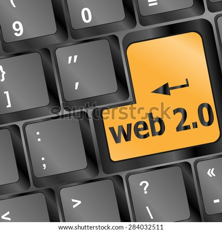 web 2 0 rss or blog concept with internet computer key on keyboard vector - stock vector
