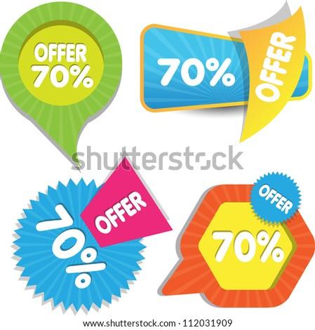 web sale labels - stock vector