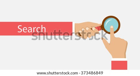 Web Search Bars, flat design, vector. Abstract concept search. Hand clicking on the search and hand with  magnifying glass. Can be used template for web browsers, app, printing. www, url, http, domain - stock vector