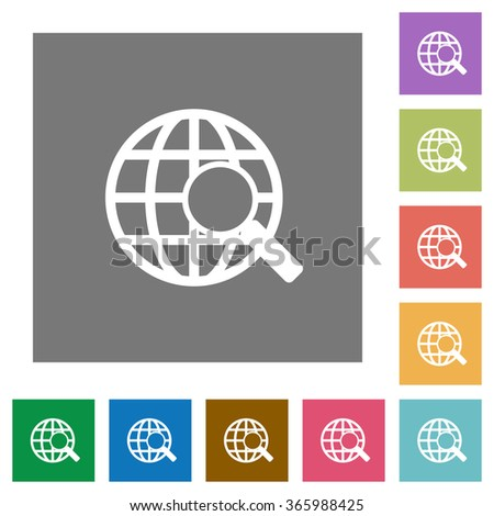 Web search flat icon set on color square background. - stock vector