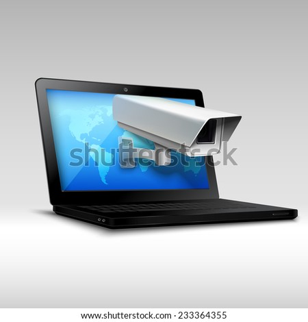 Web security concept with laptop and surveillance camera 3d realistic vector illustration. - stock vector