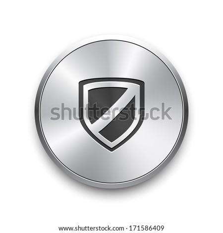 Web security icon shield. Vector silver button.  - stock vector