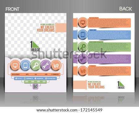 Web Service Front & Back Flyer Template  - stock vector