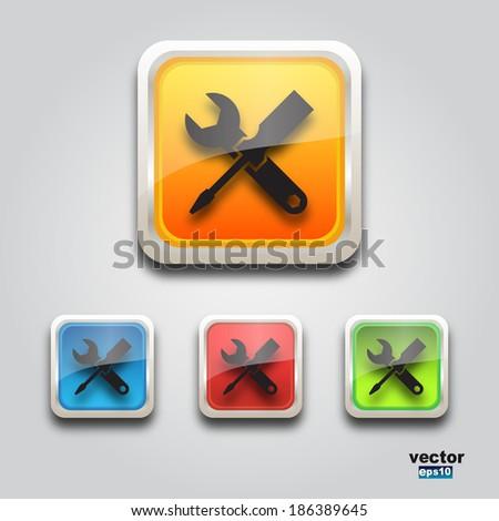 Web service icon square - stock vector