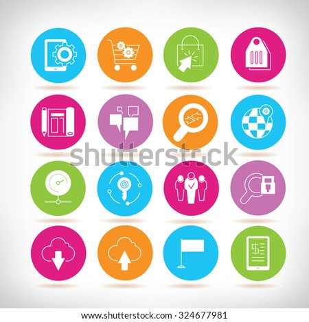 web service icons set - stock vector