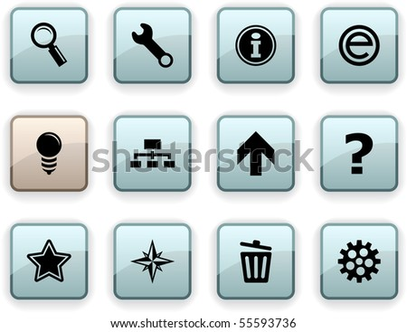 web  set of square dim icons.