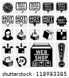 web shop icon shopping icon for placing online order on internet webshop brown cardboard box with text . Best hot offers speech bubbles set. - stock vector