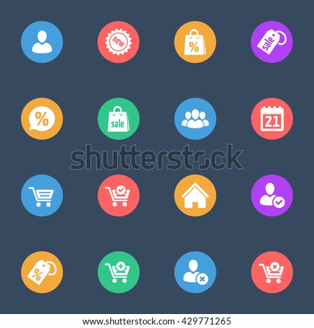 web shopping flat  icons set of 16 - stock vector
