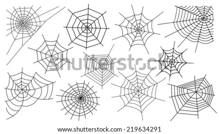 web silhouettes on the white background - stock vector