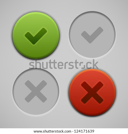 Web site check vector buttons and icons set