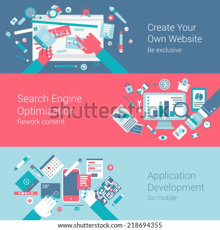 Web site creation seo app concept flat icons set of webdesign process search engine optimization application development and vector web illustration website click infographics elements collection - stock vector