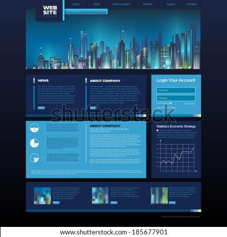 Web site design. night city - stock vector