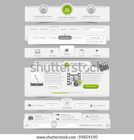 Web site design template navigation elements - stock vector