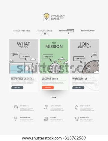 Web site design template navigation elements: Home page of website with personal company concept logo and icons