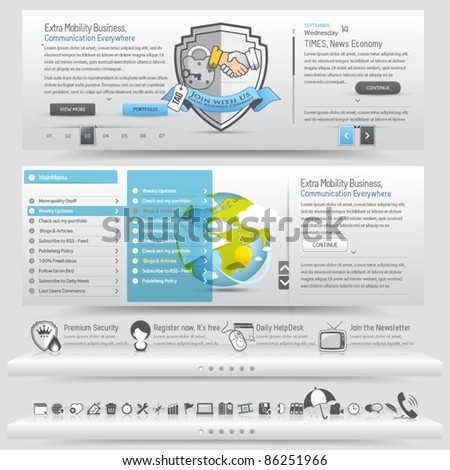 Web site design template navigation elements with icons set - stock vector