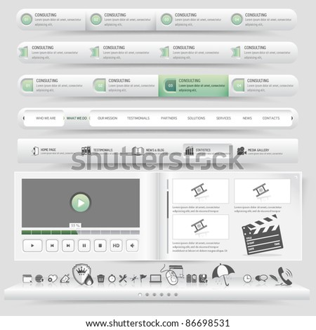Web site design template navigation set with icon set - stock vector