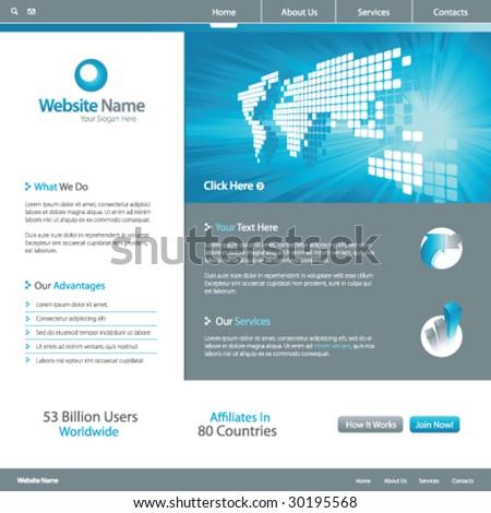 Web site design template 7, vector - stock vector