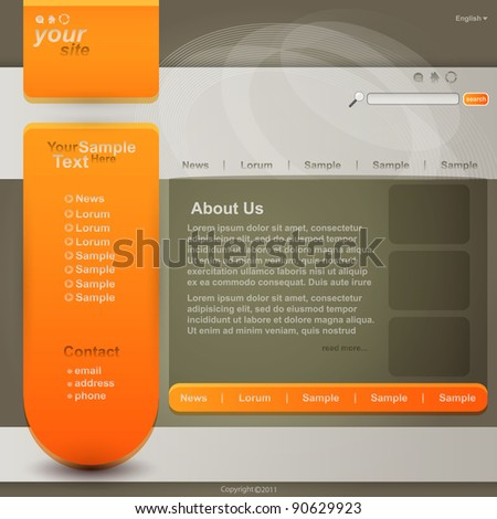 Web site design template, vector - stock vector