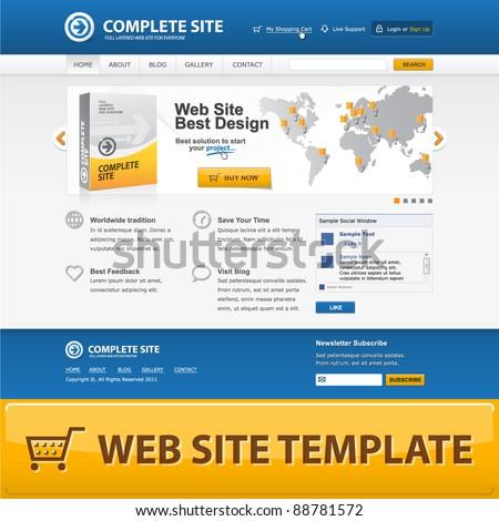 Web site design template. Vector EPS10. - stock vector