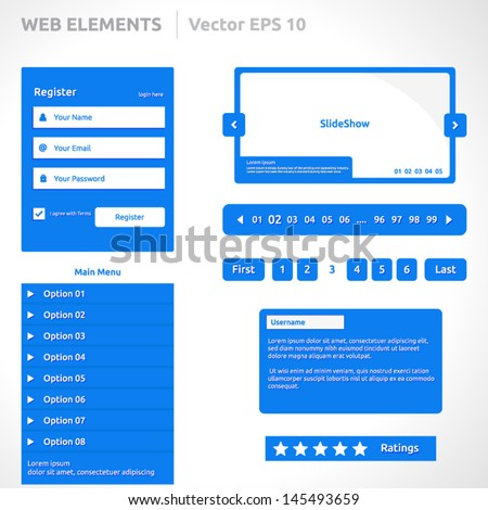 Web site elements template | color blue | abstract vector design | web page | icon login register slideshow pagination video player search bar form options steps vertical menu buttons comments icons - stock vector