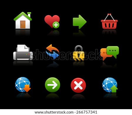 Web Site Icons // Black Background - stock vector