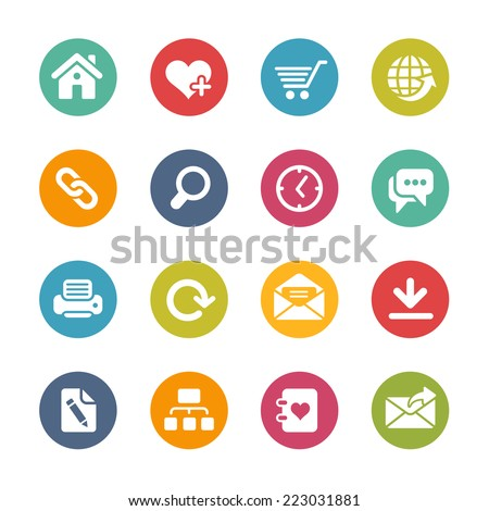 Web Site & Internet Icons // Fresh Colors Series ++ Icons and buttons in different layers, easy to change colors ++ - stock vector