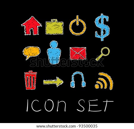 Web Site & Internet Icons in doodle chalk style on a black board. - stock vector