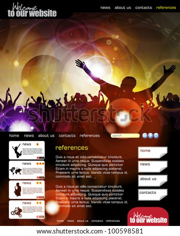 Web site layout with music event subject - stock vector