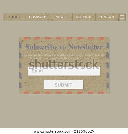 Web Site Subscribe to Newsletter Form. Postal Theme. - stock vector