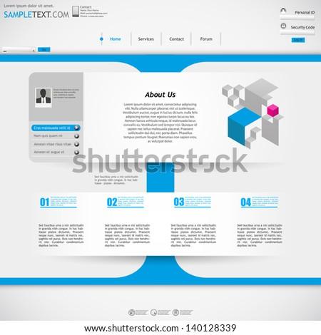 web site template design - metallic, blue colors  - stock vector