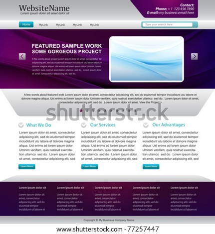 web site template design -  metallic, purple colors - stock vector